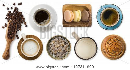 Different cups of coffee and sweets isolated on white background
