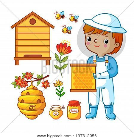 Beekeeping honey vector set with beekeeper. Vector set with bee apiary and boy.