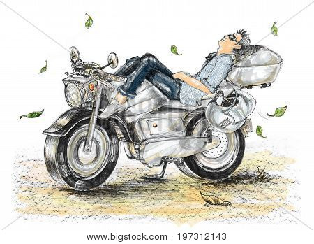 Biker life style cartoon painting is freedom he sleeping on bike In the spring with fallen leaves. The air with cool breeze and isolated.