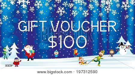 Gift voucher with Santa Claus and snowflakes.