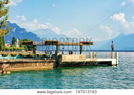 People At Landing Stage On Geneva Lake In Vevey Riviera
