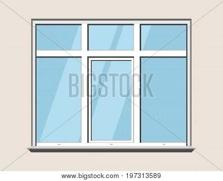 Window classic plastic. Glass construction building detailed vector illustration. White window isolated on gray background. Traditional realistic vector element of architecture and interior design.