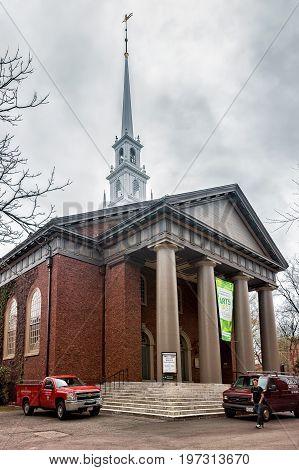 Entrance To Memorial Church In Harvard Yard Cambridge Ma America