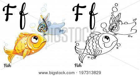 Vector alphabet letter F for children education with funny cartoon gold fish and bunny. Isolated. Learn to read. Coloring page.