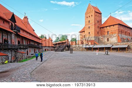 People In Trakai Island Castle Museum At Day Time Baltic