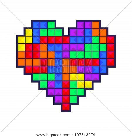 Mosaic heart colored brick games pieces isolated on white background. Heart old video game design for greeting card gift wrapping invitation printing valentine day card brochure or flyer. Vector illustration.