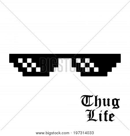 Pixel glasses isolated on white background. Thug life meme glasses. Vector illustration.