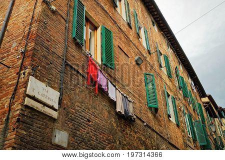 Clothesline At Via Santa Caterina Street Siena