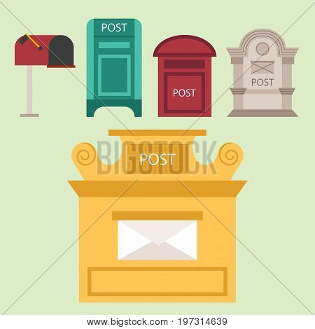 Beautiful rural curbside open and closed mailboxes with semaphore flag postbox vector illustration. Traditional communication empty postage post mail box. Letter message service correspondence.