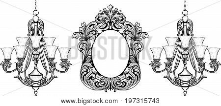 Fabulous Baroque Mirror and chandelier frame set. Vector French Luxury rich carved ornaments. Victorian wealthy Style furnitures