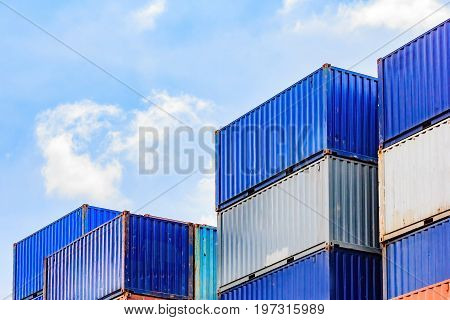 container container ship in import export and business logisticBy crane Trade Port Shipping cargo to harbor. Aerial view Water transport International Shell Marine transportation logistic