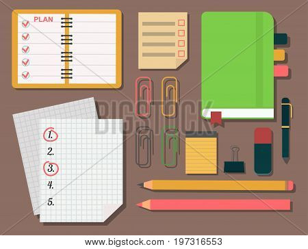 Vector notebook agenda business note meeting plan work reminder schedule calendar planner organizer appointment illustration. Memo book to do document.