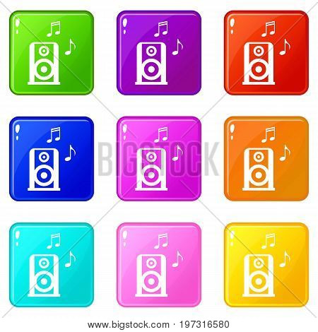 Portable music speacker icons of 9 color set isolated vector illustration