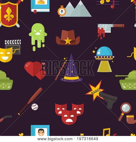 Cinema genre icons set cinematography flat entertainment comedy, drama, thriller movie production symbol vector illustration.. Film motion picture cine movies premiere pattern seamless background