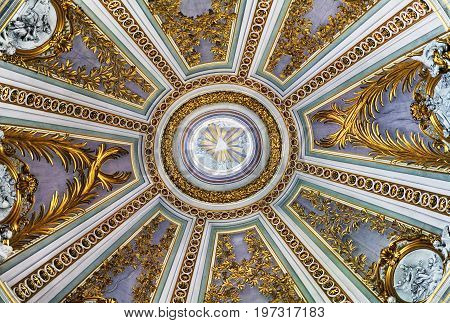 Ceiling In Santissimo Nome Di Maria Church In Rome