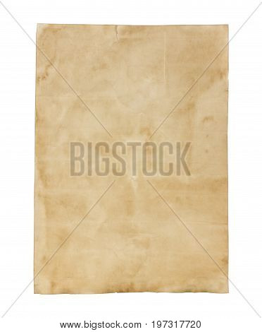 Old brown note paper isolated on white background.d.