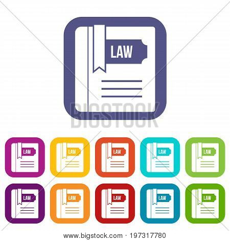 Law book icons set vector illustration in flat style in colors red, blue, green, and other