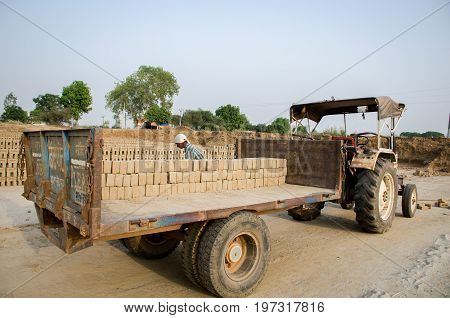 Amritsar, Punjab, India - 21 April 2017 : Bricks Being Loaded On A Truck By A Worker Ready For Dispa
