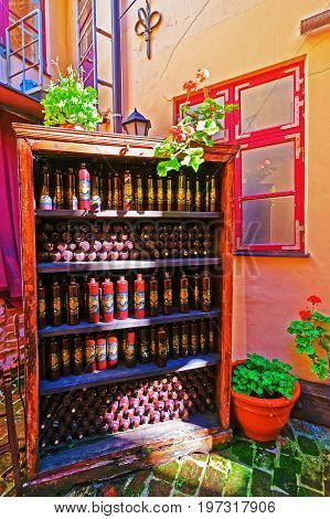 Riga Latvia - September 3 2014: Interior of Black magic bar in the historical center of Old town in Riga Latvia Baltic country