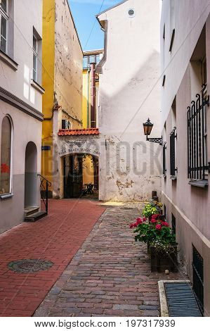 Archway At Courtyard In Historical Center In Riga Baltic