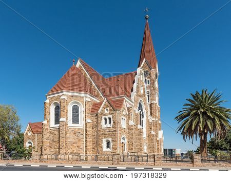 WINDHOEK NAMIBIA - JUNE 17 2017: The back side of the Christuskirche an historic German Lutheran church in Windhoek