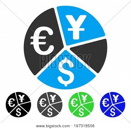 Currency Pie Chart flat vector icon. Colored currency pie chart gray, black, blue, green icon versions. Flat icon style for application design.