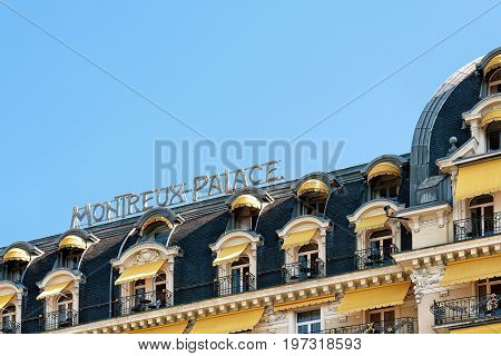 Fragment Of Luxury Hotel At Geneva Lake Montreux Swiss Riviera