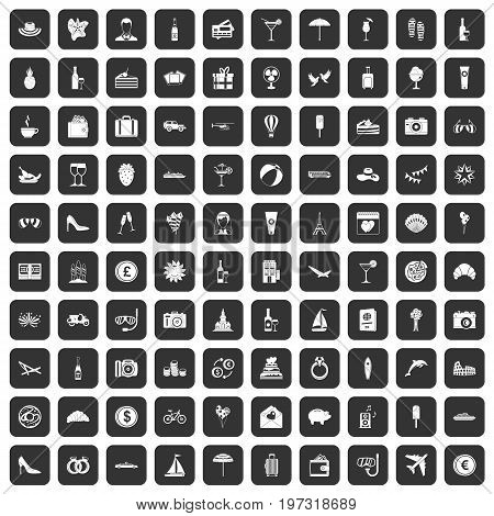 100 honeymoon icons set in black color isolated vector illustration