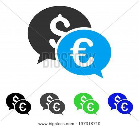 Currency Transactions flat vector pictogram. Colored currency transactions gray, black, blue, green icon versions. Flat icon style for application design.