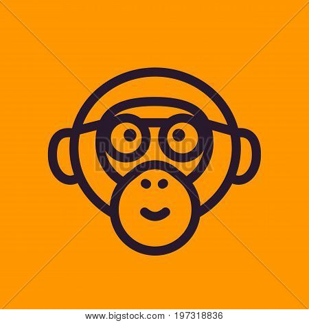 ape, monkey with glasses line icon, eps 10 file, easy to edit