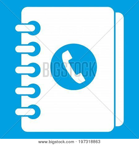 Address book icon white isolated on blue background vector illustration