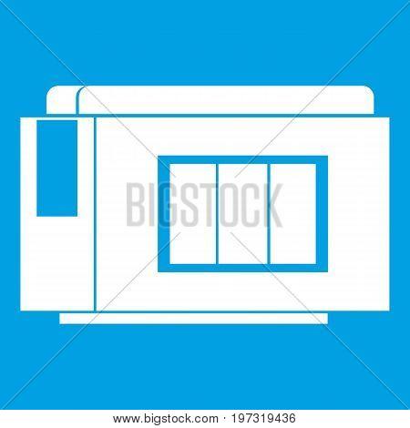 Inkjet printer cartridge icon white isolated on blue background vector illustration