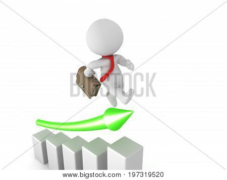 3D Character dressed as white collar worker jumping on growth chart. Image conveying productivity and company growth.