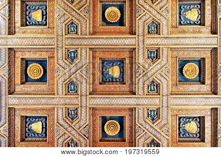 Decor Of Ceiling In Sant Andrea Basilica In Mantua