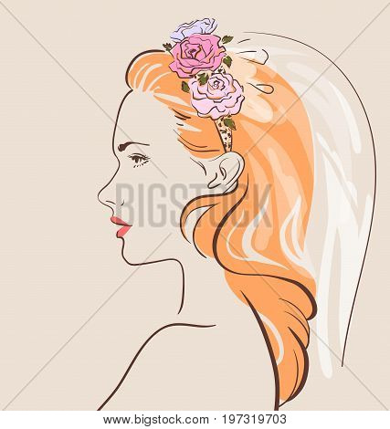 Beautiful woman in veil with a stylish hair do. Pretty bride. Vector illustration eps 10