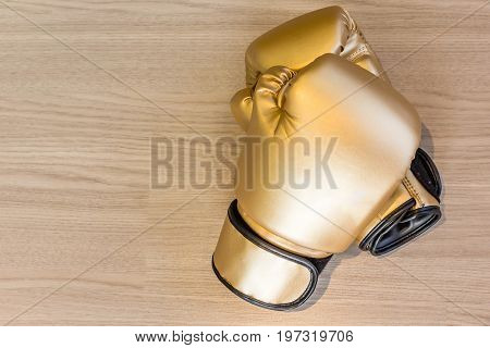 Pair of gold leather boxing gloves on a wooden background Top view with copy space and text.