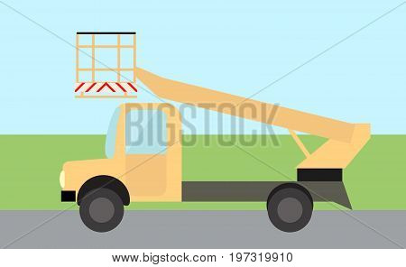 Bucket truck truck for lifting people flat image in vector.