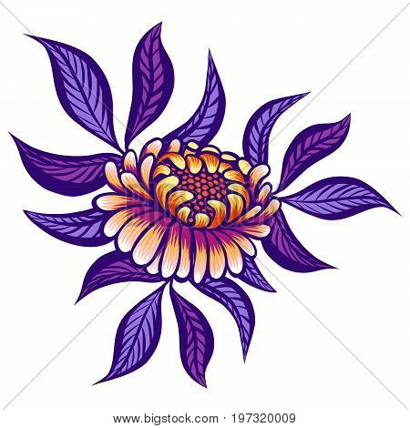 Floral hand drawn vintage flower. Fabulous orange-purple flowers and lilac leaves on a white background. Tropical flower. Exotic textile botanical design. Summer design. Vector illustration.