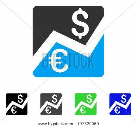 Forex Market Chart flat vector pictogram. Colored forex market chart gray, black, blue, green icon variants. Flat icon style for graphic design.