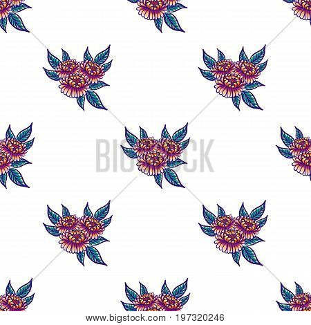 Floral hand drawn vintage seamless pattern with flowers and leaves. Fabulous orange-purple flowers and green leaves on a white background. Tropical seamless pattern with exotic vivid leaves. Exotic textile botanical design. Summer design. Vector illustrat