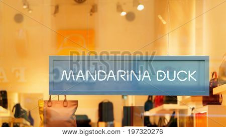 Mandarina Duck Sign On Street Shop Window Florence