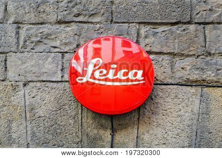 Leica Sign On Building In Florence