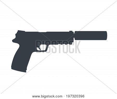 pistol silhouette, handgun with silencer, gun isolated on white