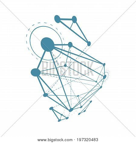 Abstract vector construction dimensional low poly design background. Innovation technologies abstract illustration.