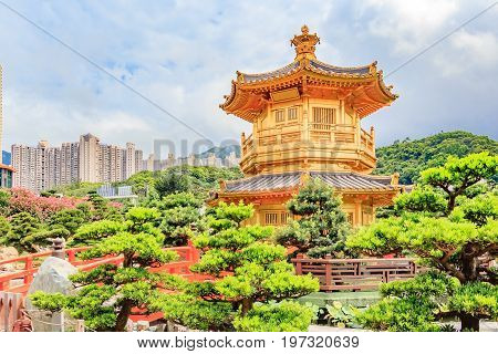 Front View The Golden Pavilion Temple in Nan Lian GardenThis is a government public park situated at Diamond hill Kowloon Hong Kong