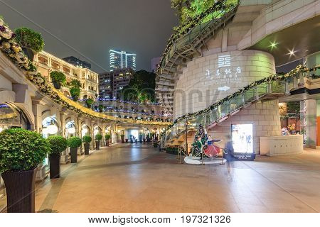 HONG KONG, CHINA - NOVEMBER 14: Night View of 1881 Heritage in Hong Kong. A former Marine Police Headquarters. It is a landmark and become a shopping center in Hong Kong. Many tourist come to visit.