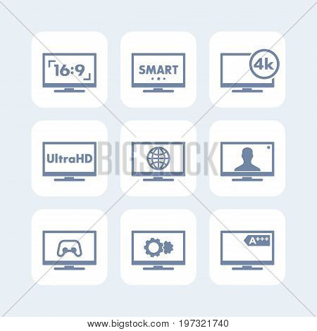 TV icons set, aspect ratio, 4k screen, ultra hd resolution, smart tv signs