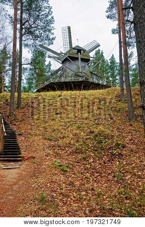 Wooden Windmill In Ethnographic Open Air Village Of Riga Baltic