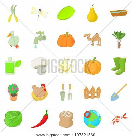 Barnyard icons set. Cartoon set of 25 barnyard icons for web isolated on white background