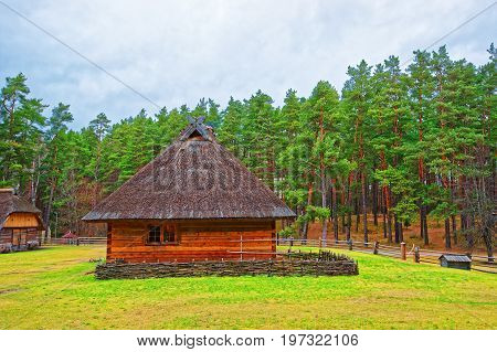 Old House At Ethnographic Open Air Village Of Riga Baltic